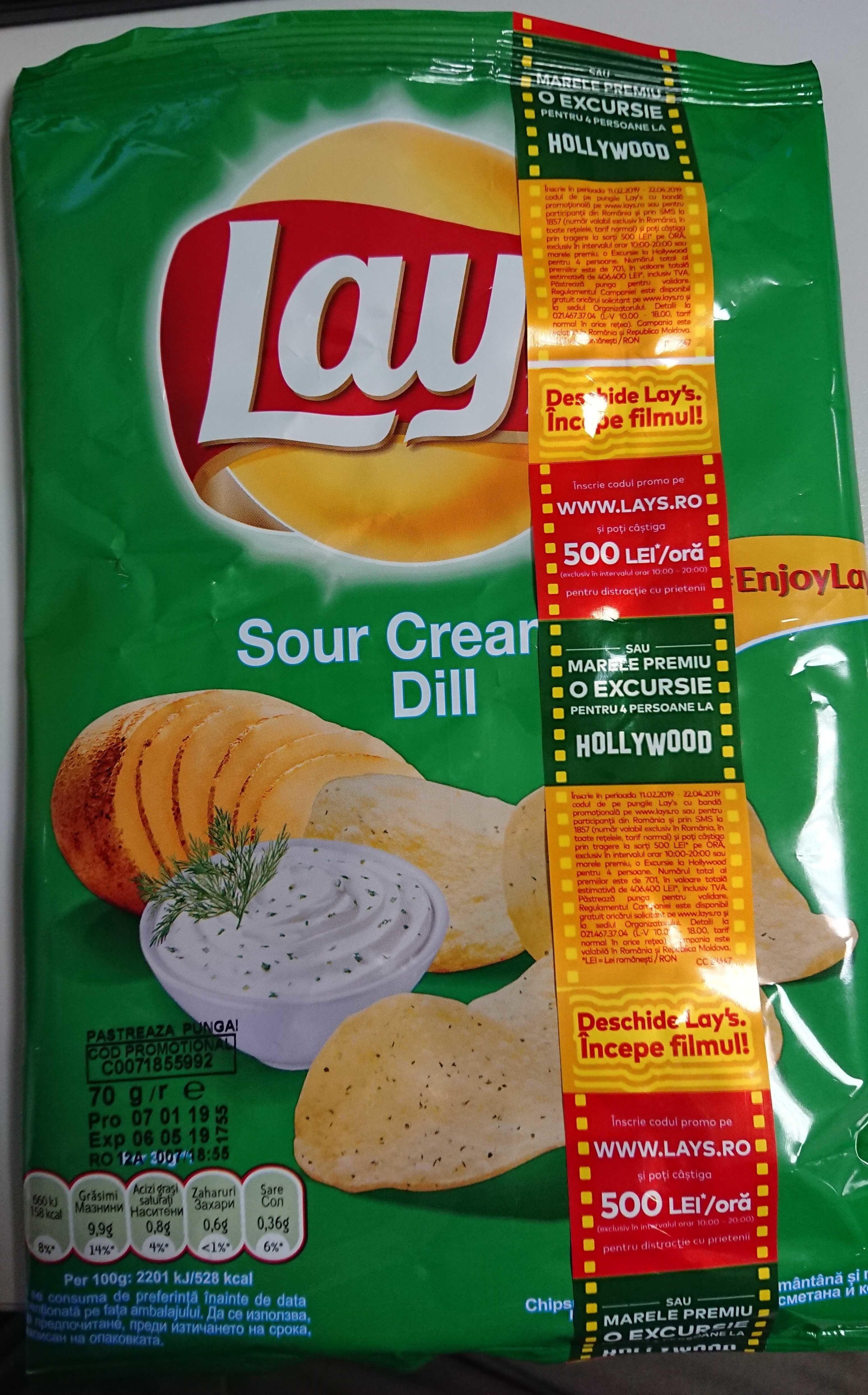 Lay's Chipsuri din cartofi cu smantana si marar - Продукт - en
