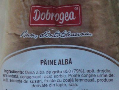 Dobrogea Pâine Albă - Ingredients - ro