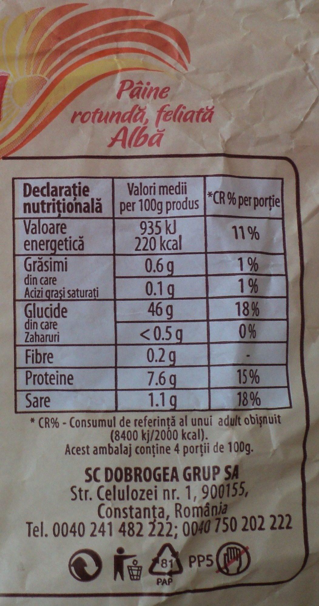 Dobrogea Pâine albă, rotundă, feliată - Nutrition facts - ro