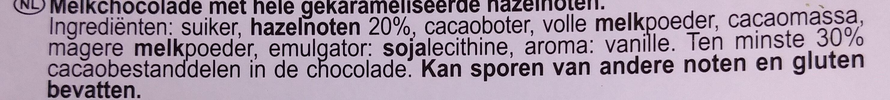 Mleczna czekolada z karmelizowanymi orzechami laskowymi - Ingrediënten