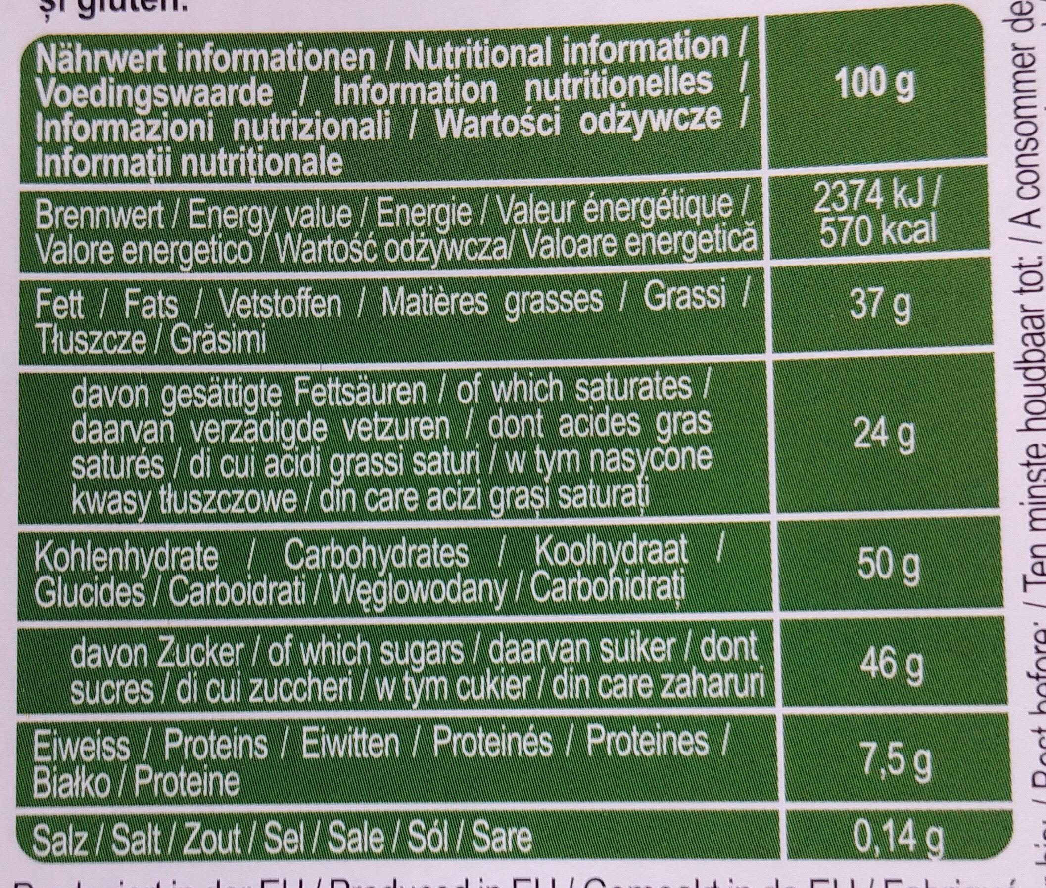 Mleczna czekolada z karmelizowanymi orzechami laskowymi - Wartości odżywcze