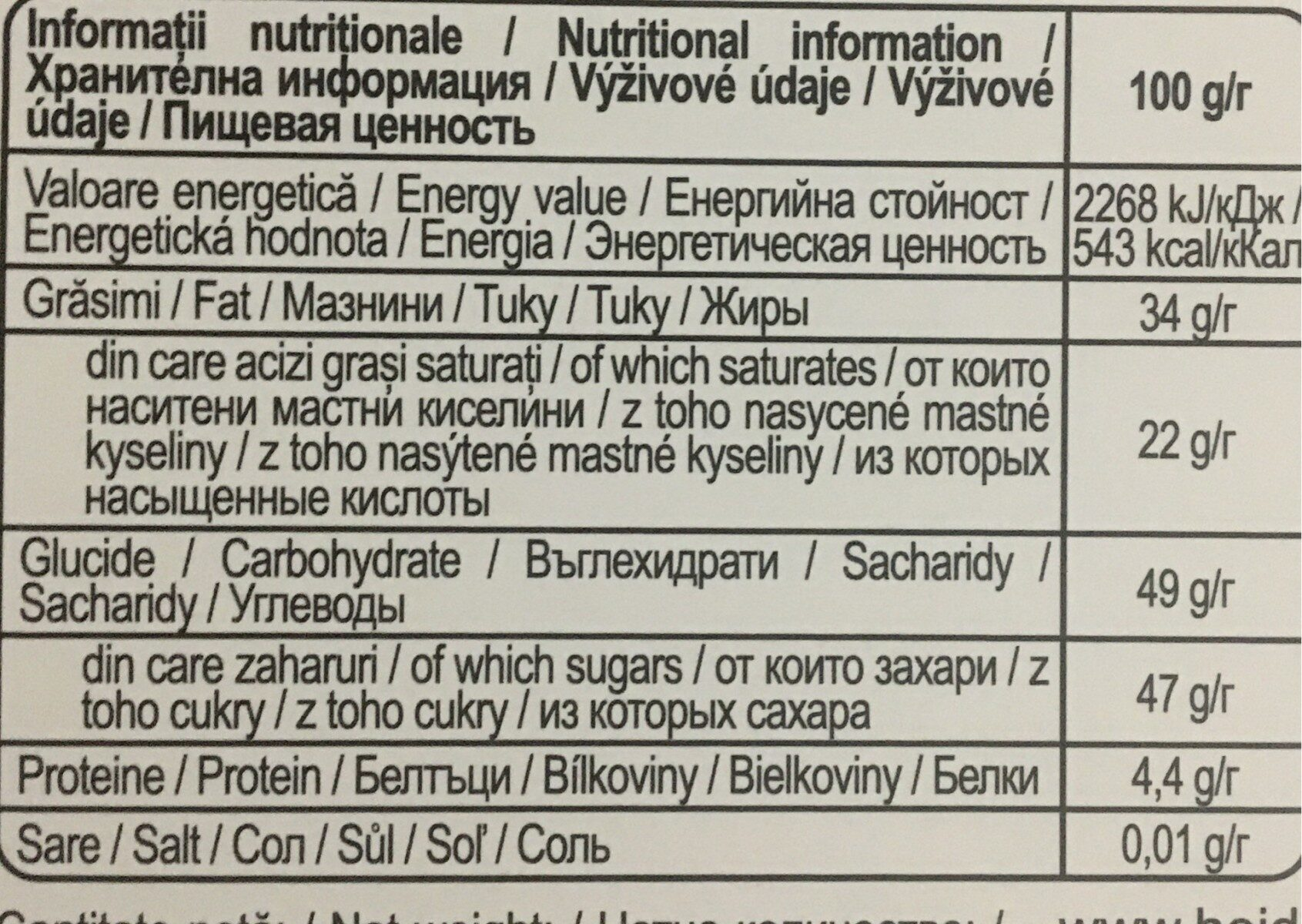 Blueberry - Informations nutritionnelles - ro