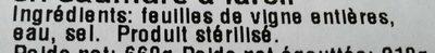Foi de viță pentru sarmale - Ingrédients - fr