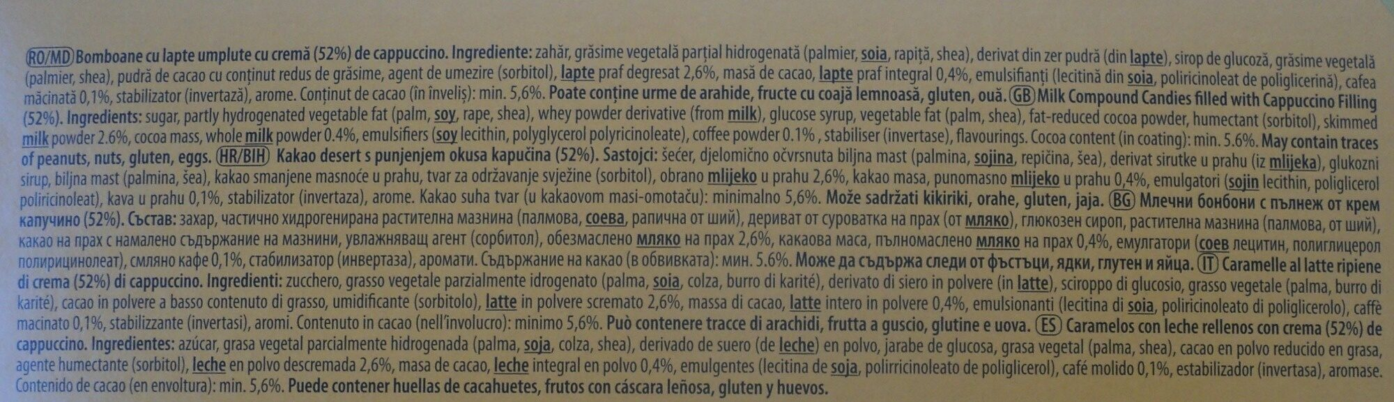 Bomboane cu cremă cappuccino - Ingredientes - es