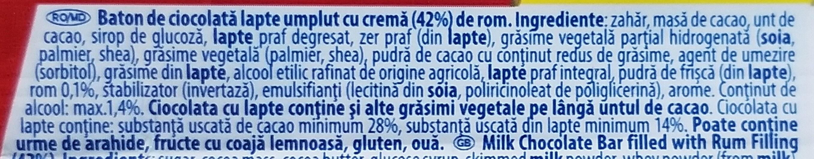 Rom ciocolată cu lapte - Ingrédients