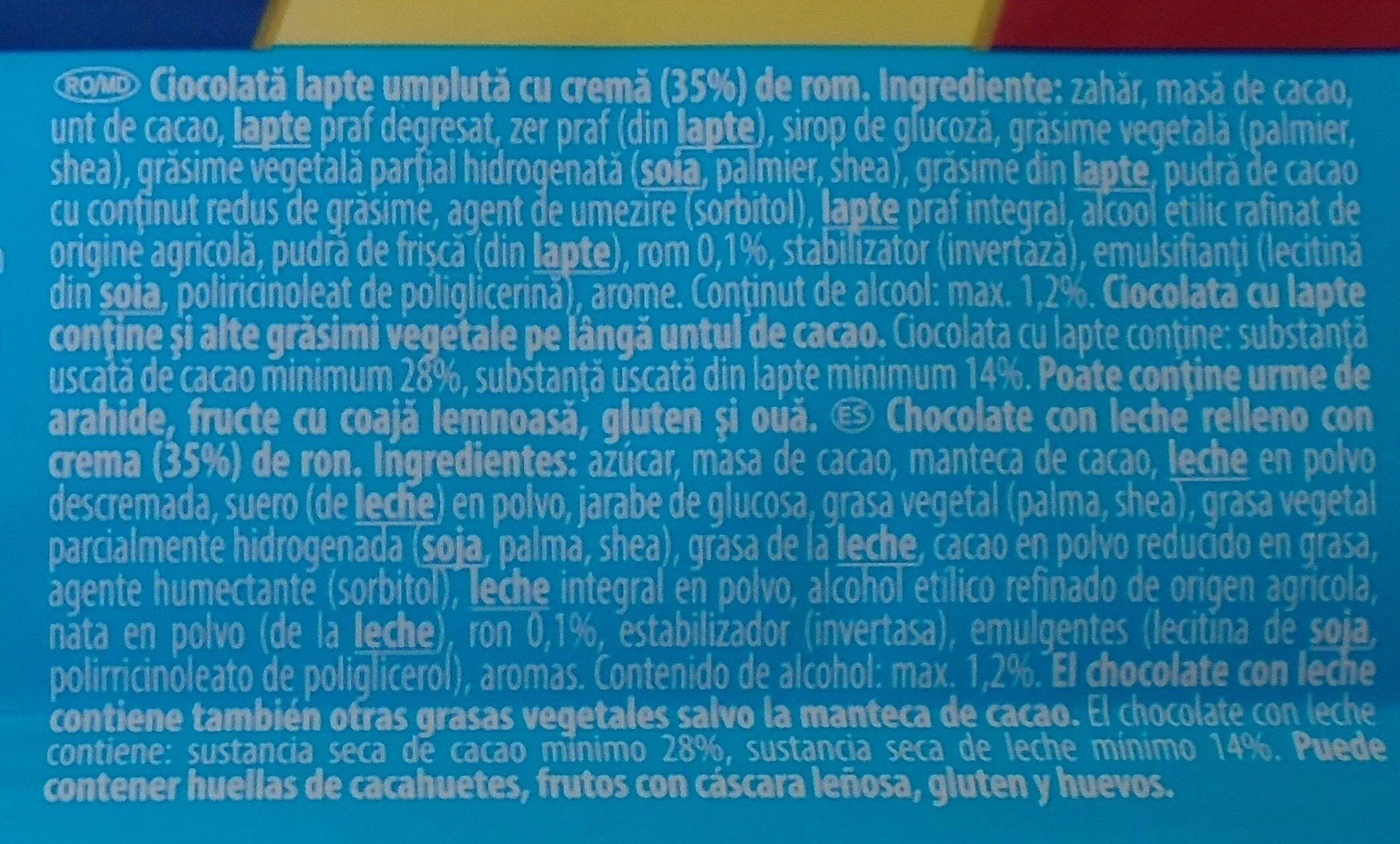 Rom Ciocolată lapte cu cremă rom - Ingredientes - ro