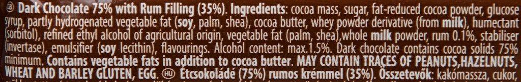 Autentic ROM Ciocolată 75% Cacao - Ingredients