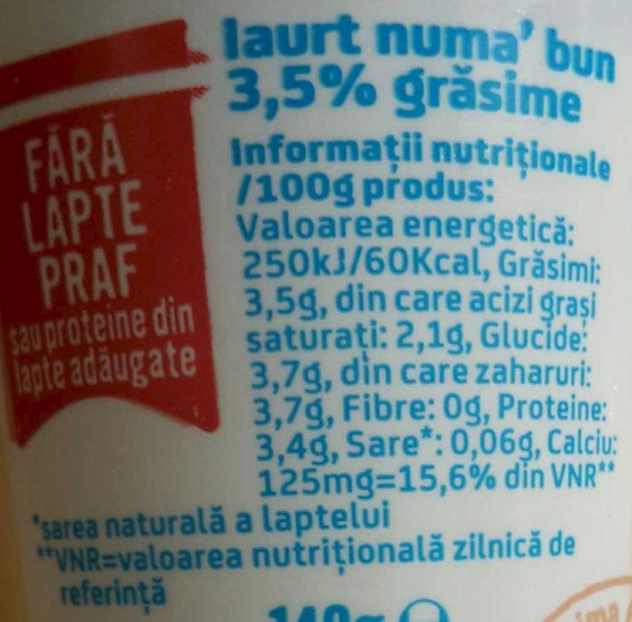 Napolact Iaurt numa' bun - Nutrition facts - ro