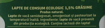 Napolact Lapte de consum ecologic 1,5% - Ingredientes - ro