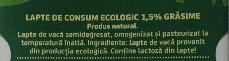 Napolact Lapte de consum ecologic 1,5% - Ingredientes