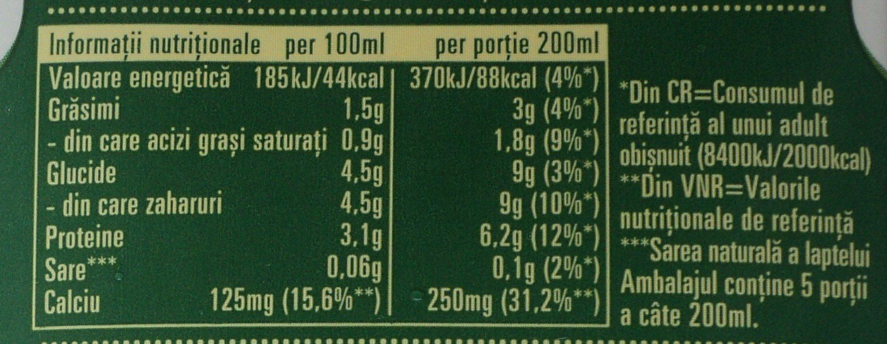 Napolact Lapte de consum ecologic 1,5% - Información nutricional