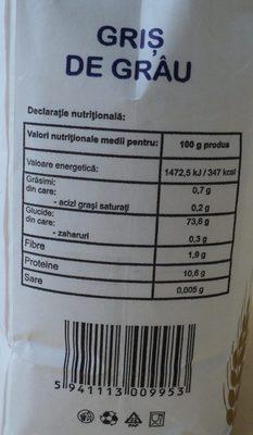 Griş de grâu - Nutrition facts - ro