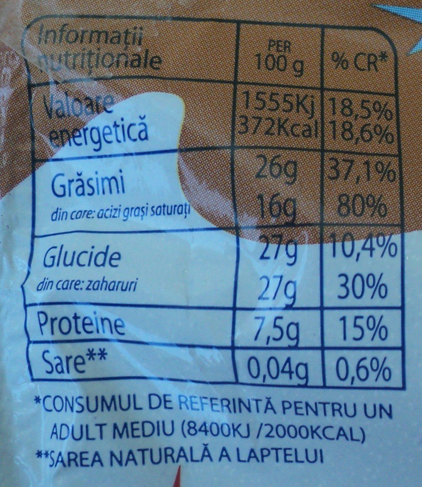 Mic-vis Brânzică glazurată cu cacao - Voedingswaarden - ro