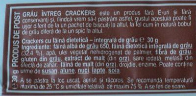Vel Pitar Grâu întreg Crackers - Ingrediënten - ro