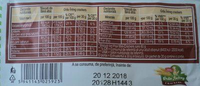 Vel Pitar Grâu întreg Crackers - Voedingswaarden - ro