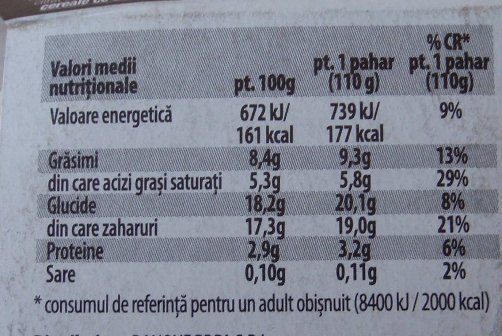 Danone Cremosso Tentatii Iaurt cremos cu gust de tiramisu - Nutrition facts