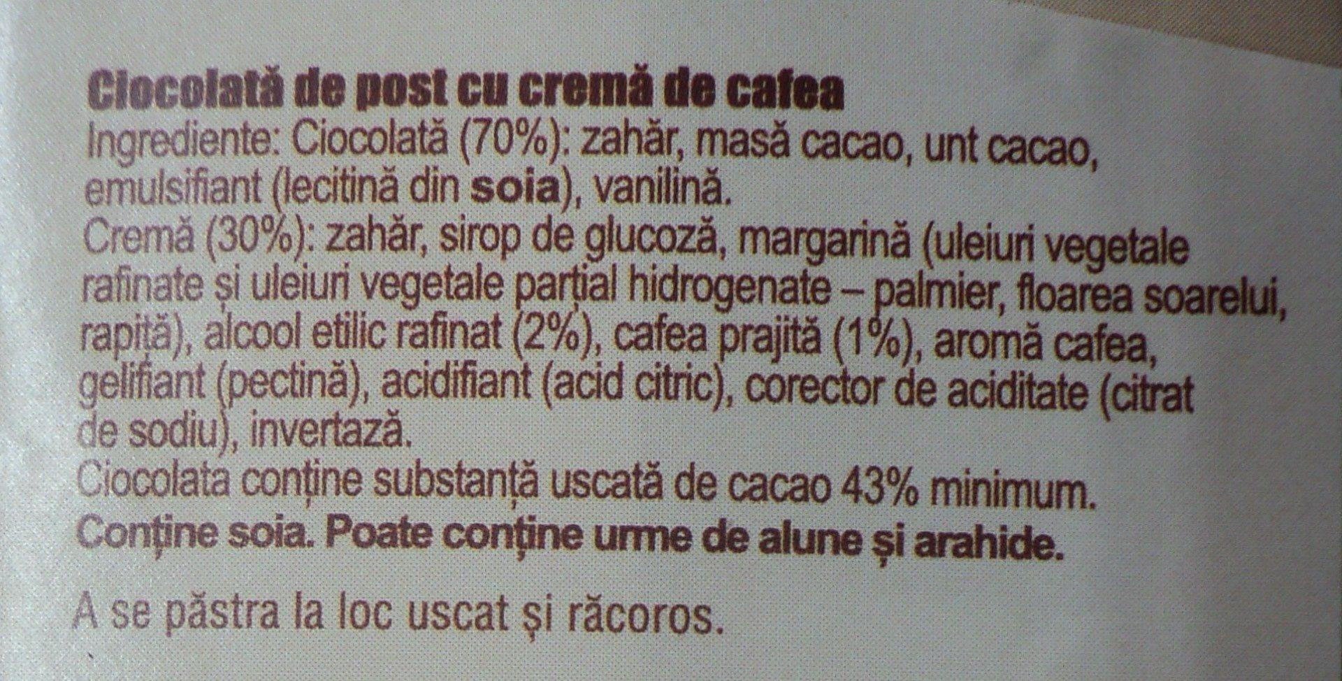Romana Ciocolată de post - Ingrédients