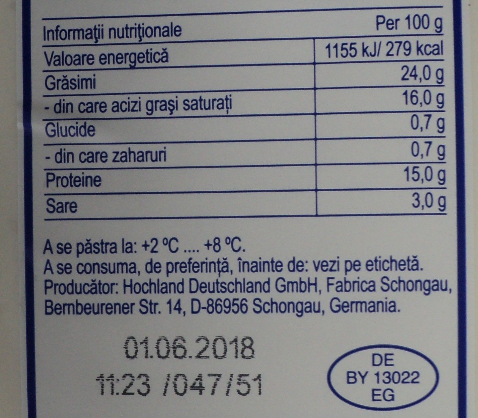 Hochland Telemea de vaca - Informations nutritionnelles - ro