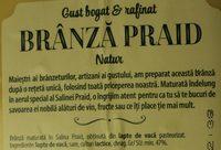 Hochland Brânză Praid Natur - Ingrédients - ro