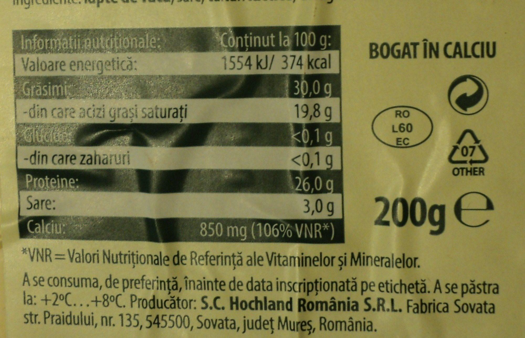 Hochland Brânză Praid Natur - Informations nutritionnelles - ro