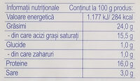 Hochland Telemea de capră - Informations nutritionnelles - ro