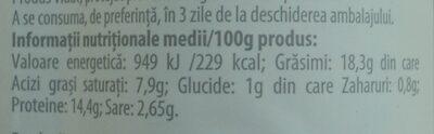 Alpinia Salam de șuncă țărănesc - Informations nutritionnelles - ro