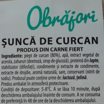 Obrăjori Șunca de curcan - Ingredients