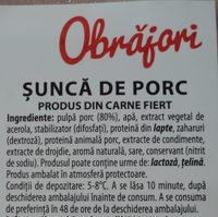 Obrăjori Șunca de porc - Ingredients - ro