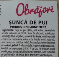 Obrăjori Șunca de pui - Ingredients