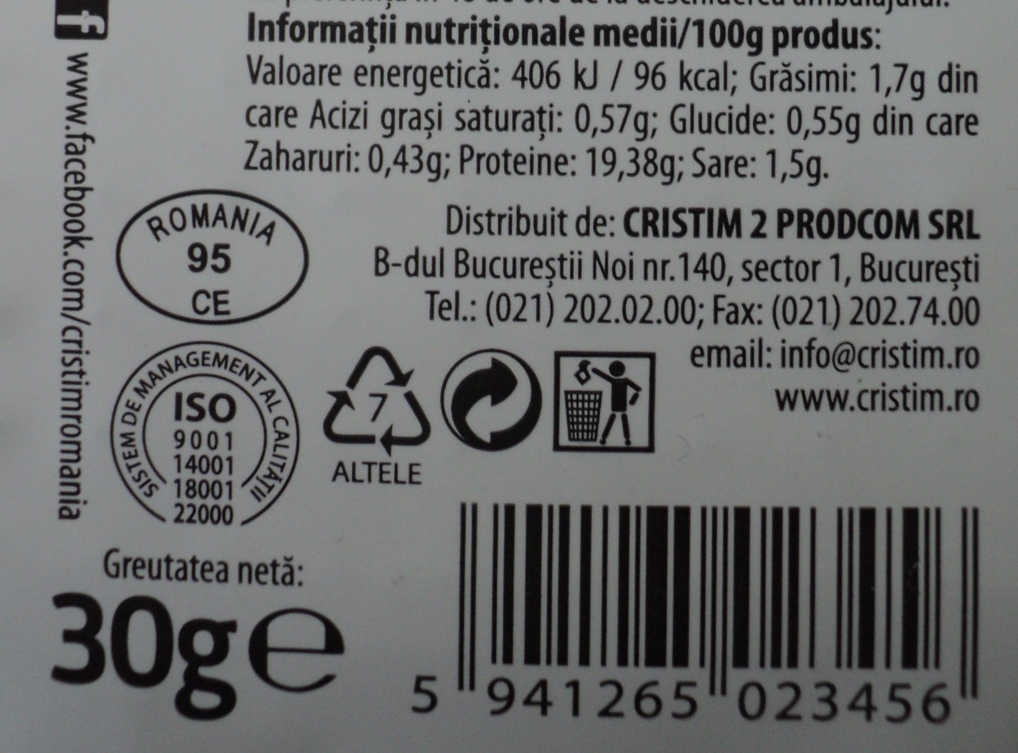 Obrăjori Șunca de pui - Nutrition facts