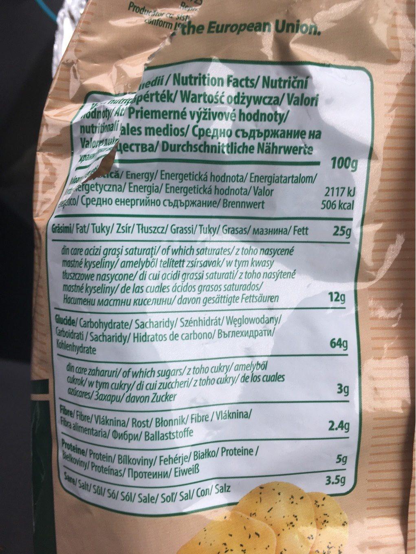 Chips Marar Si Smantana 100G Vivachips Panna E Aneto 100G Viva - Nutrition facts - fr