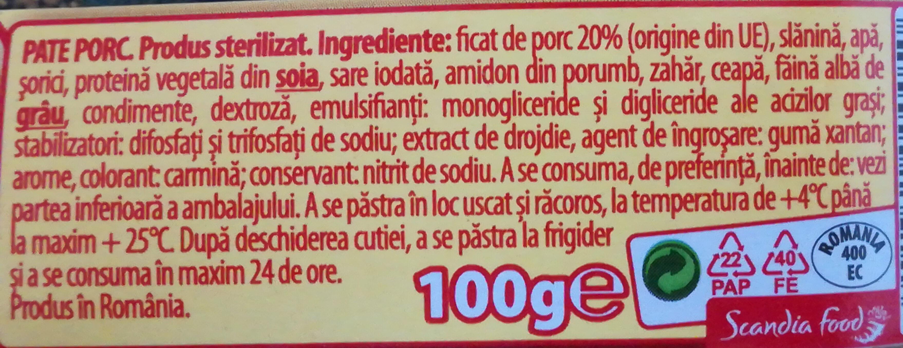 Bucegi Pate Porc - Ingredients - ro