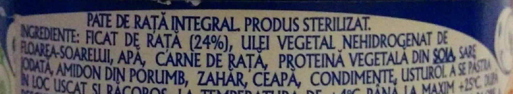 Pate de rață integral - Ingredients - ro