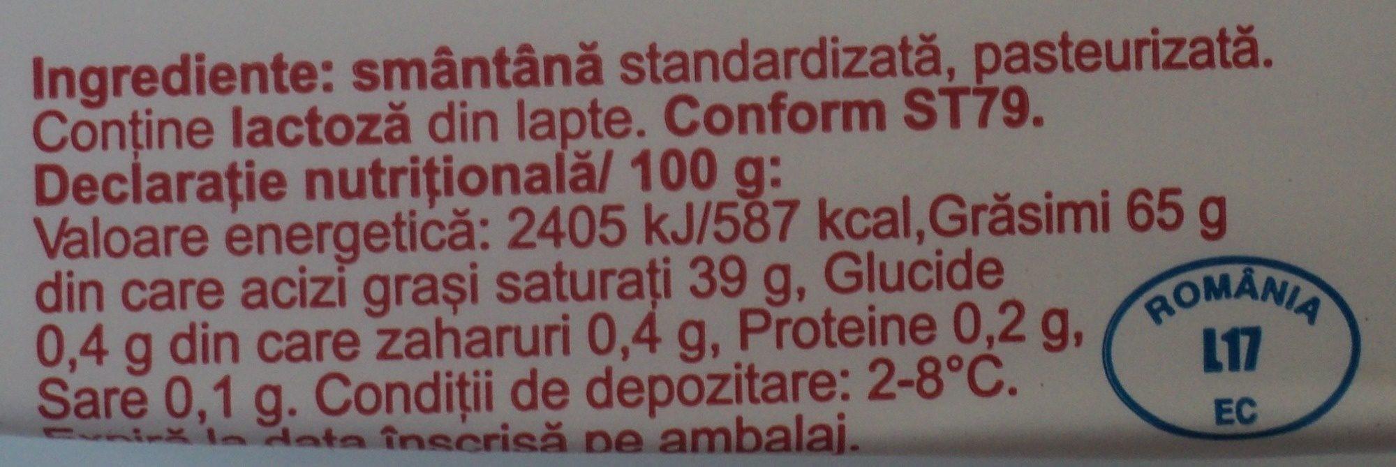 Albalact Unt de masa tip B 200g - Nutrition facts - ro