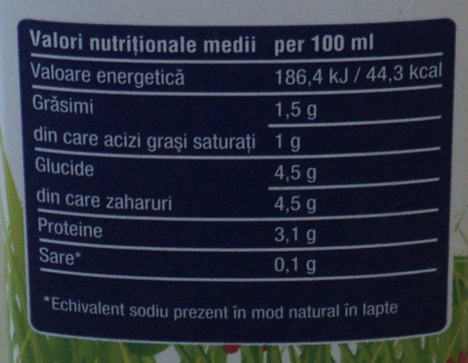 Poiana Florilor Lapte de consum semidegresat UHT 1,5% grăsime - Información nutricional - ro