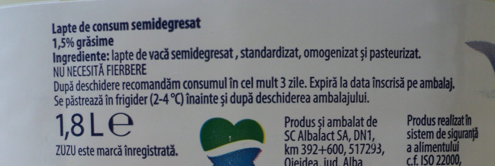 Zuzu Lapte de consum 1,5% - Ingredients - ro
