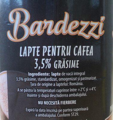 Bardezzi Lapte pentru cafea 3,5% - Ingredients - ro