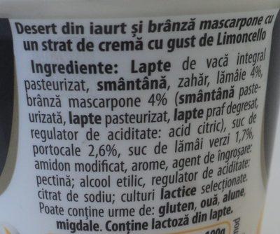Zuzu Dolce Desert din iaurt si branza mascarpone cu crema cu gust de Limoncello - Ingredients - ro