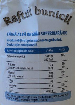 Raftul bunicii Faina alba de grau 000 - Nutrition facts - ro