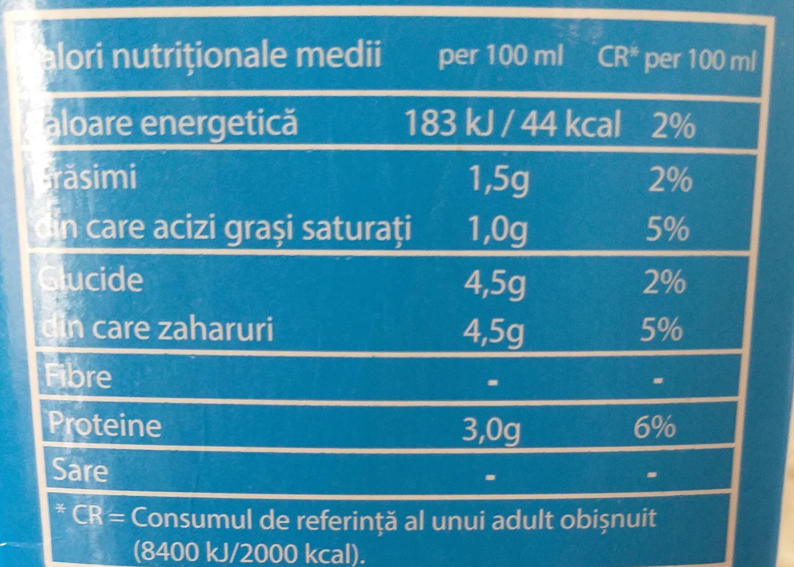 SIM Lapte de consum 1,5% grasime - Información nutricional - ro