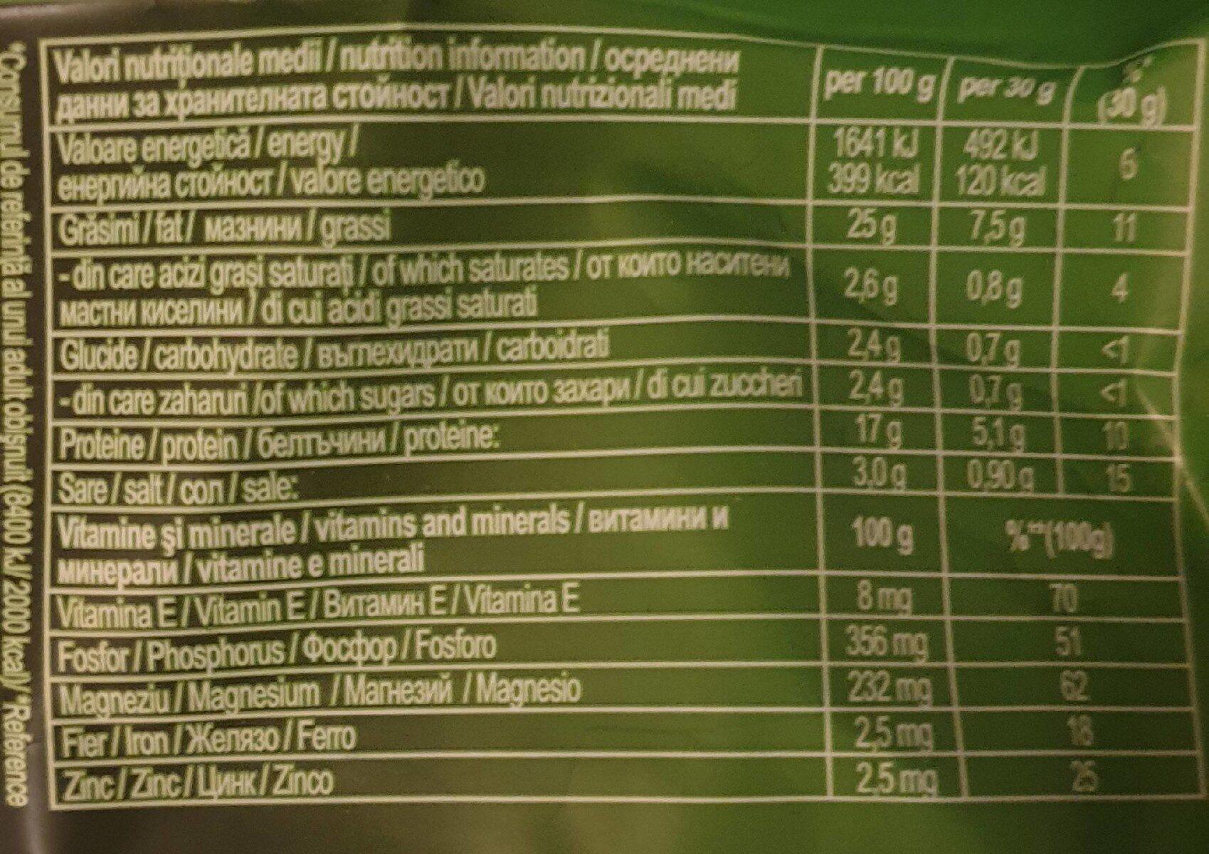 Nutline Seminte Pestrite - Informations nutritionnelles - fr