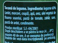 Olympia Tocană de Legume - Ingredients