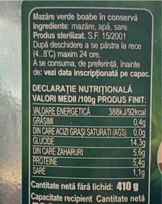 Mazare boabe - Valori nutrizionali - ro