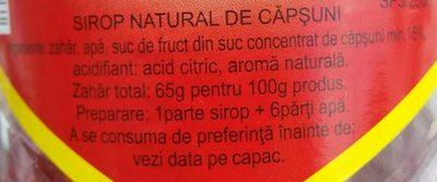 Sirop natural de căpșuni - Ingrédients - ro