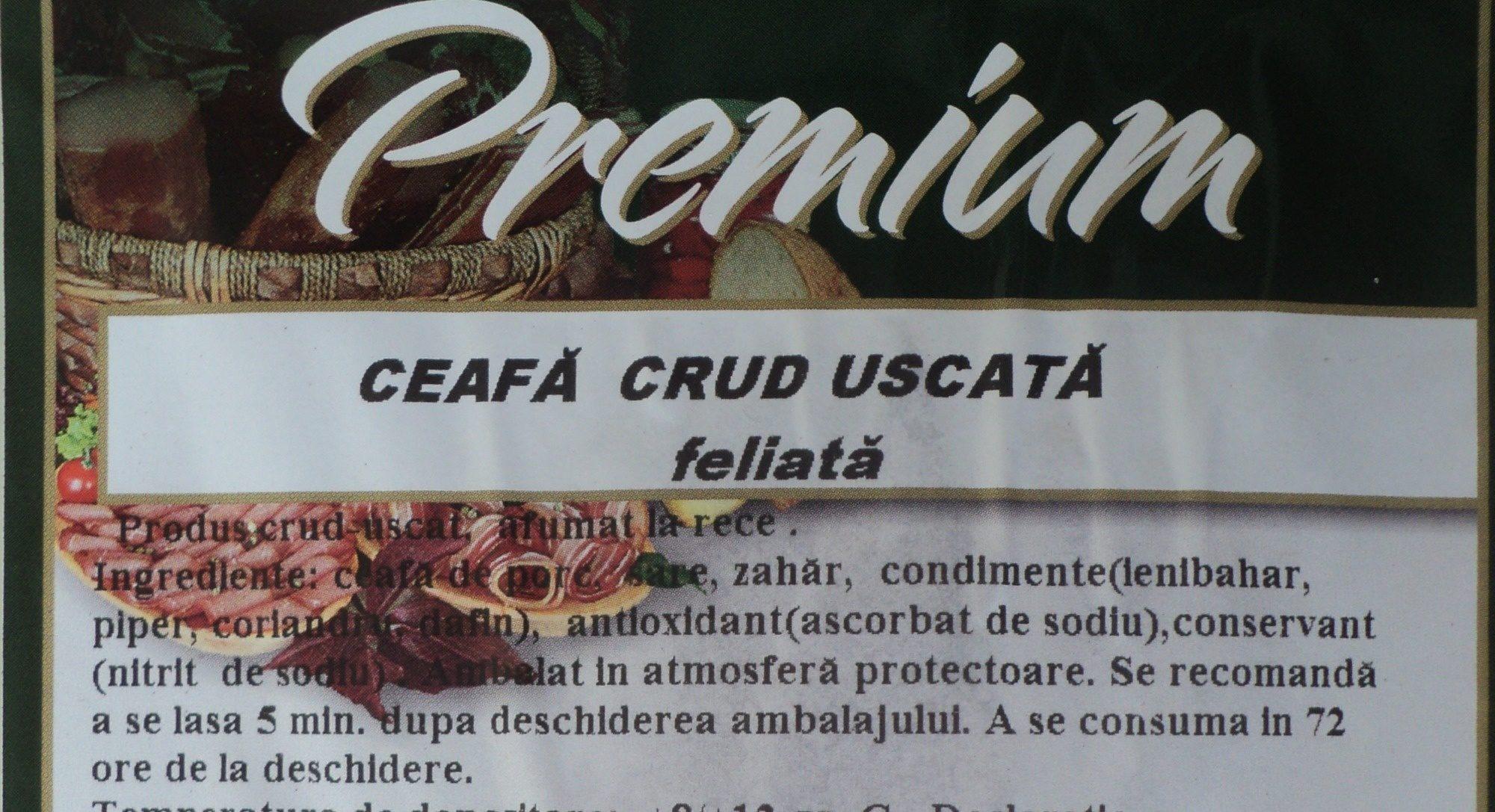 Premium Ceafa crud uscata, feliata - Ingredients - ro