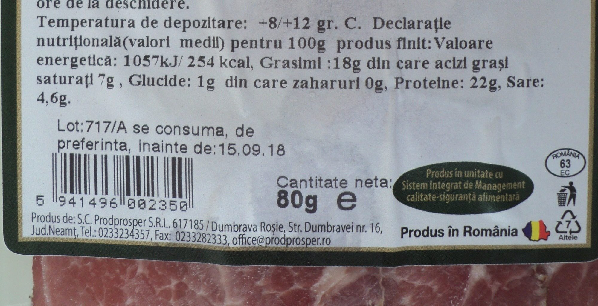 Premium Ceafa crud uscata, feliata - Nutrition facts - ro