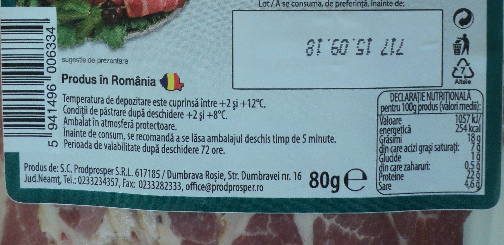 Premium Ceafa de porc crud uscata - Nutrition facts - ro