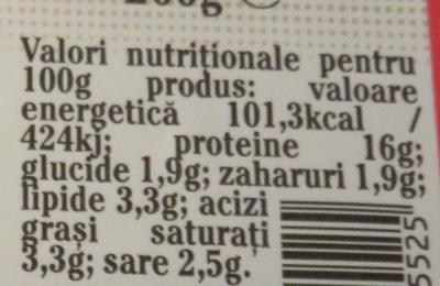 Sunca praga - Informations nutritionnelles - ro