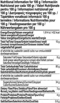Gluten Free Chocolate Chips Granola Bars - Información nutricional
