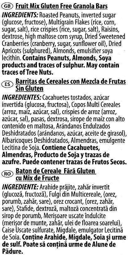 Gluten Free Fruit Mix Granola Bars - Ingredients - es